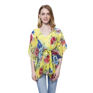 Yellow Flower Printed 100% Polyester Poncho with Draw-string (Free Size)