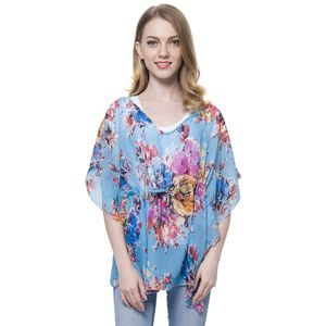 Blue Flower Printed 100% Polyester Poncho with Draw-string (Free Size)