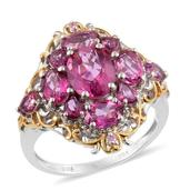 Pure Pink Mystic Topaz, Madagascar Pink Sapphire 14K YG and Platinum Over Sterling Silver Ring (Size 6.0) TGW 5.35 cts.