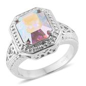 Stainless Steel Ring (Size 5.0) Made with SWAROVSKI Aurora Borealis Crystal TGW 5.50 cts.