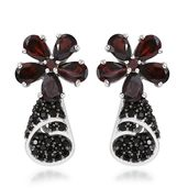 Mozambique Garnet, Thai Black Spinel Platinum Over Sterling Silver Earrings TGW 6.30 cts.