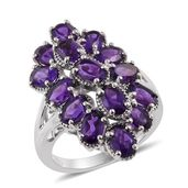Lusaka Amethyst Platinum Over Sterling Silver Ring (Size 7.0) TGW 5.76 cts.