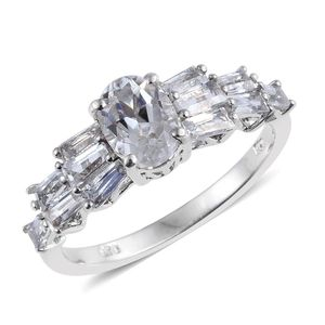 XIA Kunzite, White Topaz Platinum Over Sterling Silver Ring (Size 6.0) TGW 3.40 cts.