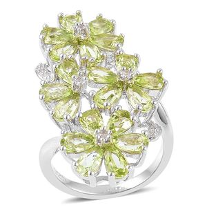 Hebei Peridot, White Topaz Sterling Silver Floral Elongated Ring (Size 8.0) TGW 4.45 cts.