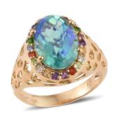 Peacock Quartz, Multi Gemstone 14K YG Over Sterling Silver Ring (Size 6.0) TGW 6.42 cts.