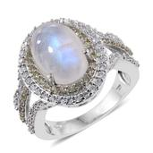 Sri Lankan Rainbow Moonstone, Cambodian Zircon, Green Sapphire Platinum Over Sterling Silver Ring (Size 10.0) TGW 9.10 cts.