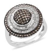 Champagne Diamond, Diamond Platinum Over Sterling Silver Ring (Size 9.0) TDiaWt 1.00 cts, TGW 1.00 cts.