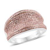 Natural Pink Diamond 14K RG and Platinum Over Sterling Silver Concave Cluster Ring (Size 9.0) TDiaWt 0.96 cts, TGW 0.96 cts.