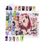 Deepak's Dazzling Deal Multi Color Beads, DIY 3D Drill Lions Canvas Painting (19.5x15.5 in)