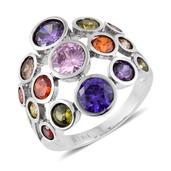 Simulated Multi Color Diamond Stainless Steel Openwork Ring (Size 6.0) TGW 8.50 cts.