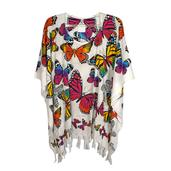Butterfly Print Rayon Poncho with Kupu Rainbow Motif Work