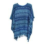 Blue Printed Rayon Poncho