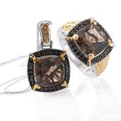 Delma Brazilian Smoky Quartz, Thai Black Spinel 14K YG and Platinum Over Sterling Silver Ring (Size 8) and Pendant With Chain (20 in) TGW 14.16 cts.