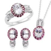XIA Kunzite, Pink Tourmaline, White Topaz Platinum Over Sterling Silver J-Hoop Earrings, Ring (Size 10) and Pendant With Chain (20 in) TGW 8.15 cts.