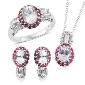 XIA Kunzite, Pink Tourmaline, White Topaz Platinum Over Sterling Silver J-Hoop Earrings, Ring (Size 6) and Pendant With Chain (20 in) TGW 8.15 cts.
