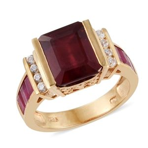 Niassa Ruby, Cambodian Zircon 14K YG Over Sterling Silver Ring (Size 9.0) TGW 8.99 cts.