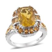 Canary Fluorite, Brazilian Citrine, Cambodian Zircon 14K YG and Platinum Over Sterling Silver Ring (Size 8.0) TGW 10.32 cts.