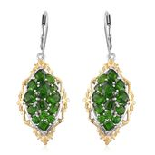 Russian Diopside 14K YG and Platinum Over Sterling Silver Lever Back Earrings TGW 5.86 cts.