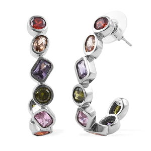 Simulated Multi Color Diamond Stainless Steel J-Hoop Earrings TGW 13.07 cts.
