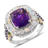 Lusaka Amethyst, Ethiopian Welo Opal, Russian Diopside 14K YG and Platinum Over Sterling Silver Ring (Size 6.0) TGW 7.470 cts.
