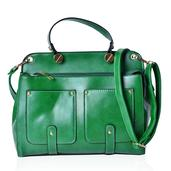 Green Faux Leather Tote Bag (11.4x5x9.5 in)