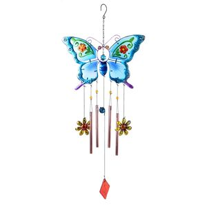 Murano Millefiori Glass, Multi Color Butterfly and Flower Pattern Iron Wind Chime (12.1x1x36 in)