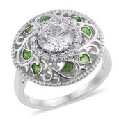 J Francis - Platinum Over Sterling Silver Ring (Size 7.0) Made with SWAROVSKI ZIRCONIA TGW 4.220 cts.