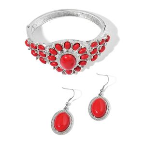 Red Coral Silvertone & Stainless Steel Bangle (7 in) and Earrings TGW 65.00 cts.