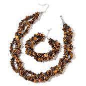South African Tigers Eye Chips Silvertone Triple Strand Bracelet (8.00 In) and Triple Strand Twisted Necklace (18.00 In) TGW 723.00 cts.