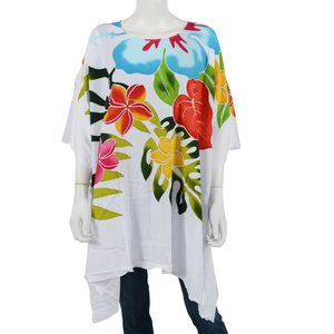 Multi Color Handpainted Floral Motif Rayon Poncho