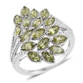 Hebei Peridot Platinum Over Sterling Silver Ring (Size 6.0) TGW 3.14 cts.