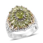 Hebei Peridot 14K YG and Platinum Over Sterling Silver Ring (Size 7.0) TGW 3.95 cts.