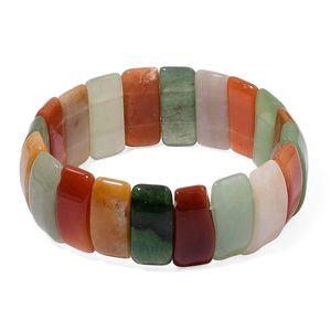 Multi Color Brazilian Aventurine Rectangle Bracelet (Stretchable) TGW 358.00 cts.
