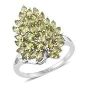 Hebei Peridot Platinum Over Sterling Silver Cluster Ring (Size 10.0) TGW 3.50 cts.