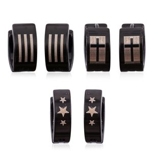 Set of 3 Stars, Cross, and Stripes ION Plated Black Stainless Steel Huggie Earrings