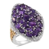 Lusaka Amethyst, Cambodian Zircon 14K YG and Platinum Over Sterling Silver Elongated Cluster Ring (Size 7.0) TGW 7.35 cts.