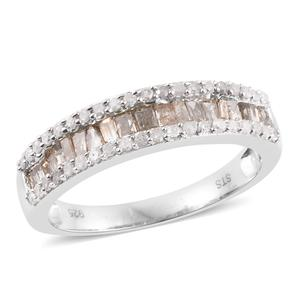 Natural Champagne Diamond, Diamond Platinum Over Sterling Silver Band Ring (Size 8.0) TDiaWt 1.01 cts, TGW 1.01 cts.