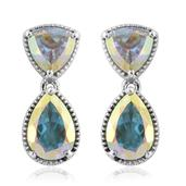 Mercury Mystic Topaz Platinum Over Sterling Silver Drop Earrings TGW 6.87 cts.