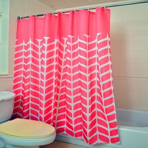 Coral 100% Polyester Waterproof Leaf Print Shower Curtain Set (72x72 In)