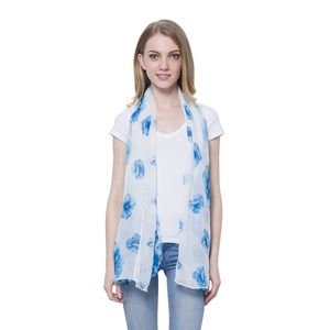 White with Blue Flower Pattern 100% Polyester Scarf (68x28 In)