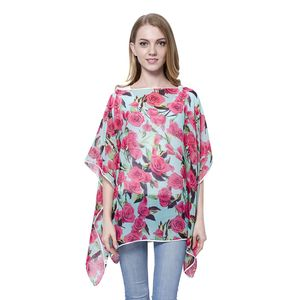 Mint with Pink Rose Pattern 100% Polyester Poncho (One Size)