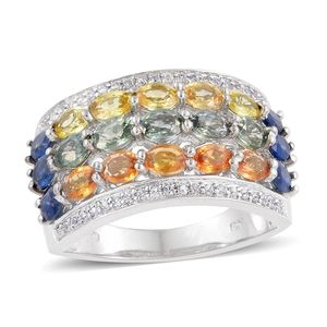 Multi Sapphire, Cambodian Zircon Platinum Over Sterling Silver Ring (Size 8.0) TGW 4.68 cts.