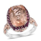 TLV Morganique Quartz, Multi Gemstone 14K RG and Platinum Over Sterling Silver Ring (Size 7.0) TGW 13.02 cts.