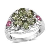 Forte Dauphin Apatite, Niassa Ruby Platinum Over Sterling Silver Openwork Floral Ring (Size 7.0) TGW 3.46 cts.