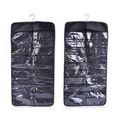 Set of 2 Black Double Sided Hanging Jewelry Organizer (72 Pockets) (16x0.5x6 in)