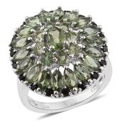 Forte Dauphin Apatite, Thai Black Spinel Platinum Over Sterling Silver Cluster Ring (Size 7.0) TGW 5.04 cts.