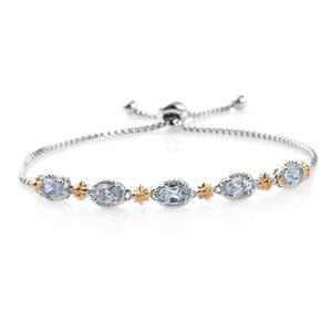 Sky Blue Topaz ION Plated 18K YG and Platinum Bond Brass Bracelet (Adjustable) TGW 3.25 cts.