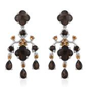 Brazilian Smoky Quartz, Brazilian Citrine Platinum Over Sterling Silver Earrings TGW 13.06 cts.