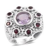 Artisan Crafted Rose De France Amethyst, Orissa Rhodolite Garnet Sterling Silver Engraved Ring (Size 7.0) TGW 4.42 cts.