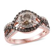 Champagne Diamond, Diamond 14K RG Over Sterling Silver Ring (Size 6.0) TDiaWt 1.96 cts, TGW 1.96 cts.